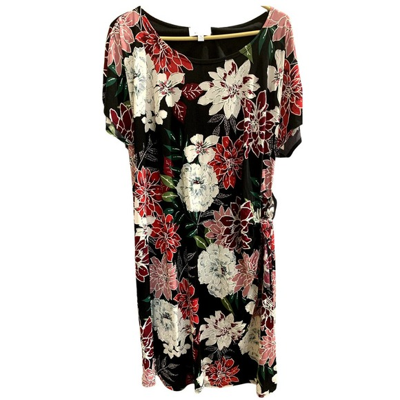 Robbie Bee Dresses & Skirts - Robbie Bee Black/Red Floral Outlined Size 1X  EUC